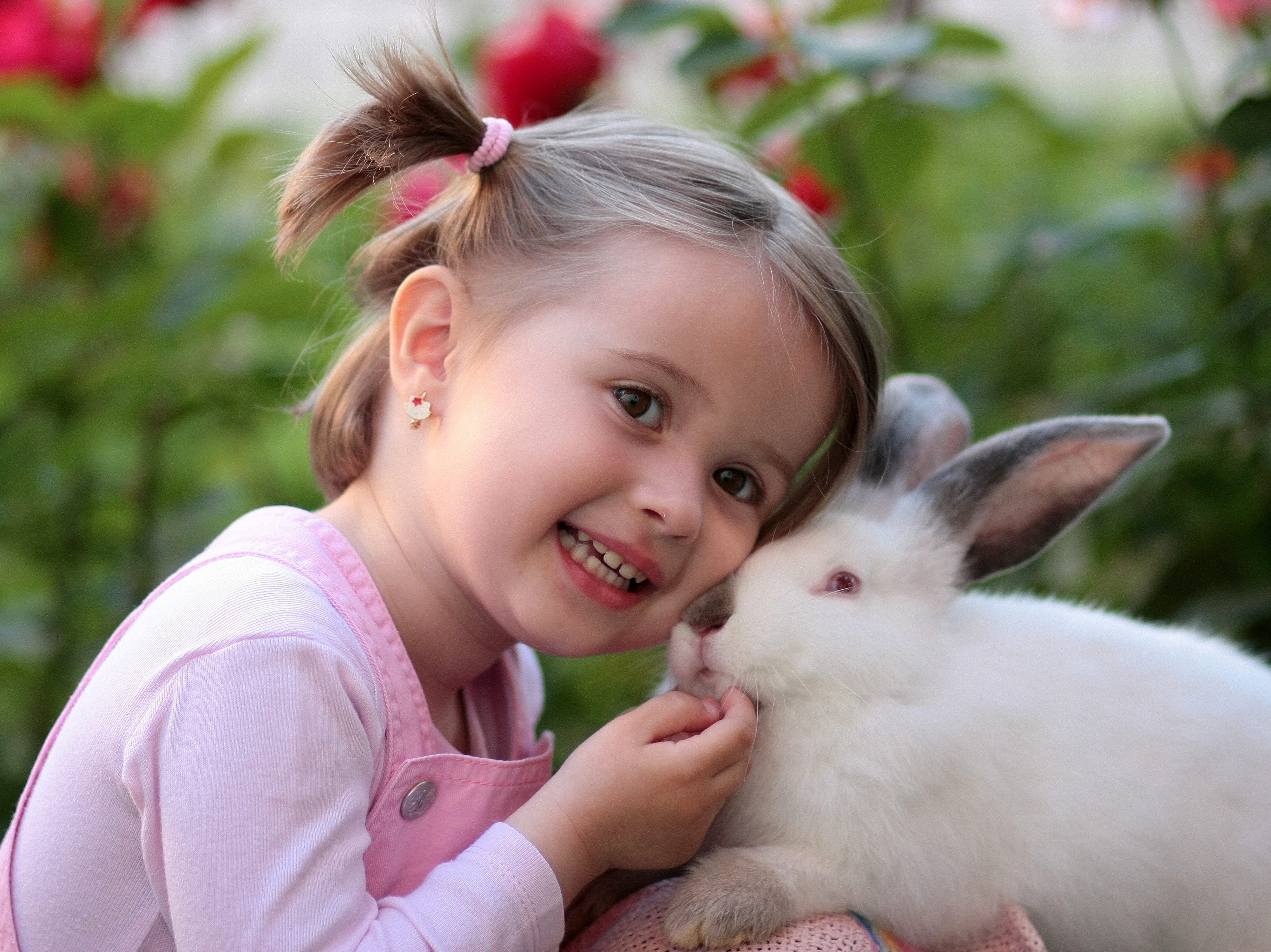 girl-holding-white-rabbit-during-daytime-160933